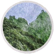 Great Wall 0043 -  Watercolor 2 Sl Round Beach Towel