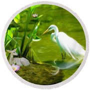Great White Egret Bird With Deer And Fish In Lake  Round Beach Towel