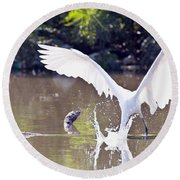 Great White Egret Fishing Sequence 2 Round Beach Towel