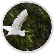 Great White Egret Flying 1 Round Beach Towel