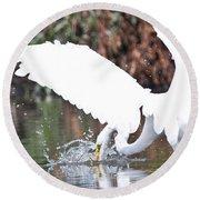 Great White Egret Splash 1 Round Beach Towel