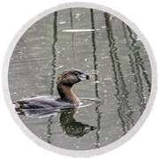 Grebe In The Reeds Round Beach Towel