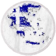 Greece Painted Flag Map Round Beach Towel