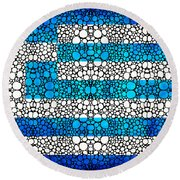 Greek Flag - Greece Stone Rock'd Art By Sharon Cummings Round Beach Towel