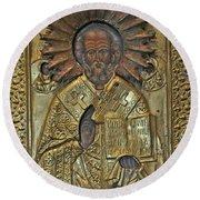 Greek Icon Of Saint Nicolas  Round Beach Towel