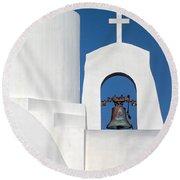 Greek Island Church Round Beach Towel