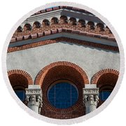 Greek Orthodox Church Arches Round Beach Towel