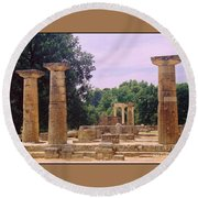 Greek Ruins At Olympia Round Beach Towel