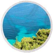 Greek Sea View Round Beach Towel