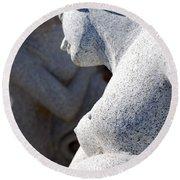 Greek Statues Round Beach Towel