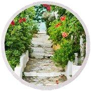 Greek Steps Round Beach Towel