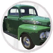 Green 1951 Ford F-1 Pick Up Truck Illustration  Round Beach Towel