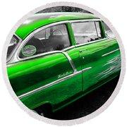 Green 1957 Chevy Round Beach Towel