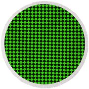 Green And Black Checkered Pattern Cloth Background Round Beach Towel