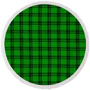 Green And Black  Plaid Cloth Background Round Beach Towel