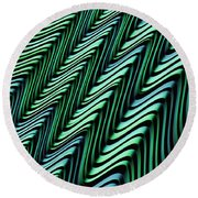 Green And Blue Folds Round Beach Towel