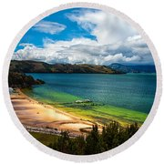 Green And Blue Lake Round Beach Towel