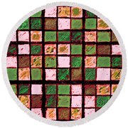 Green And Brown Sudoku Round Beach Towel
