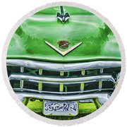 Green And Chrome-hdr Round Beach Towel