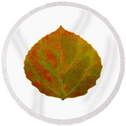 Green And Red Aspen Leaf 5 Round Beach Towel