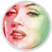 Green And Red Beauty Round Beach Towel