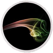 Green And Red Smoke Abstract Round Beach Towel