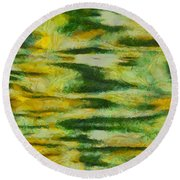 Green And Yellow Abstract Round Beach Towel