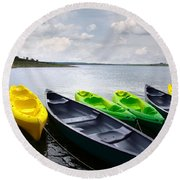Green And Yellow Kayaks Round Beach Towel