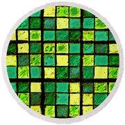 Green And Yellow Sudoku Round Beach Towel
