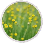 Green And Yellow Vintage Round Beach Towel