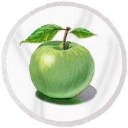 Green Apple Still Life Round Beach Towel