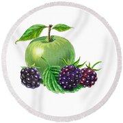 Green Apple With Blackberries Round Beach Towel