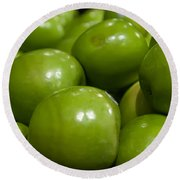 Green Apples On Display At Farmers Market Round Beach Towel
