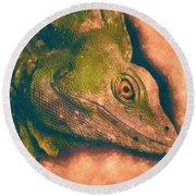 Green Basilisk Lizard Round Beach Towel