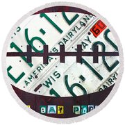 Green Bay Packers Football License Plate Art Round Beach Towel