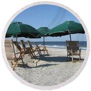 Green Beach Umbrellas Round Beach Towel
