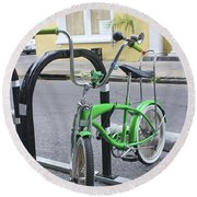 Green Bike Round Beach Towel