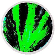 Green Blue Plant Abstract Round Beach Towel