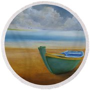 Green Boat Round Beach Towel