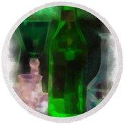Green Bottle Photo Art Round Beach Towel