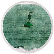 Green Buoy - Barnegat Inlet - New Jersey - Usa Round Beach Towel