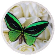 Green Butterfly With White Roses Round Beach Towel