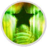 Green Christmas Star Round Beach Towel by Gaspar Avila