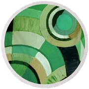 Green Circle Abstract Round Beach Towel