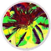 Green Clematis Flower Round Beach Towel