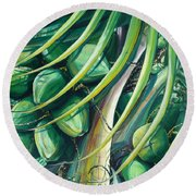 Green Coconuts  2  Round Beach Towel