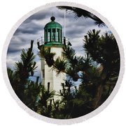 Green Copper Lantern Room On Scituate Lighthouse Round Beach Towel