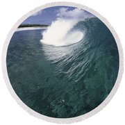 Green Curl Round Beach Towel
