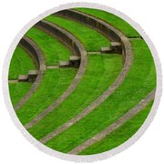 Green Curves And Steps Round Beach Towel