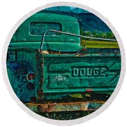 Green Dodge Round Beach Towel